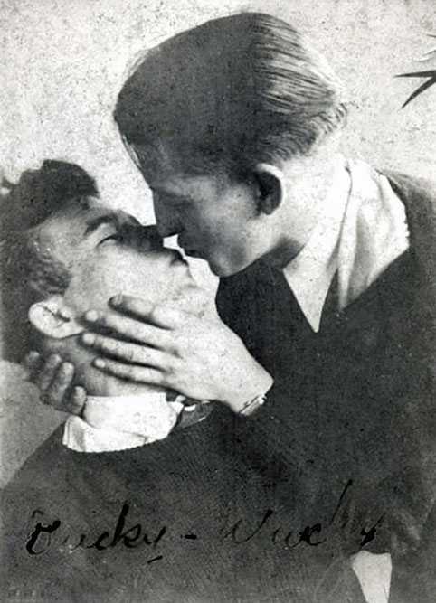 "Two young men kiss. Vintage gay photo. Signed ""Duckey and Wuckey"""