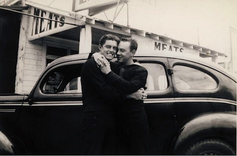 two young sailors hugging gay vintage
