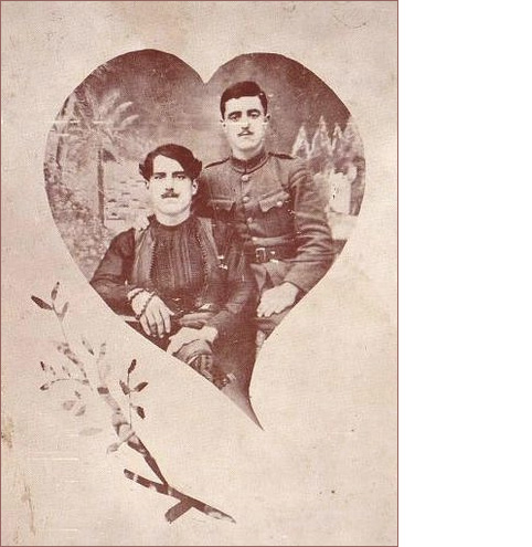 vintage gay couple, valentine heart