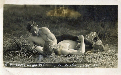 two men wrestling; vintage; gay