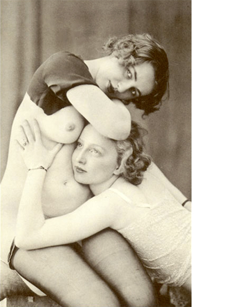 vintage photo of affectionate women, lesbian