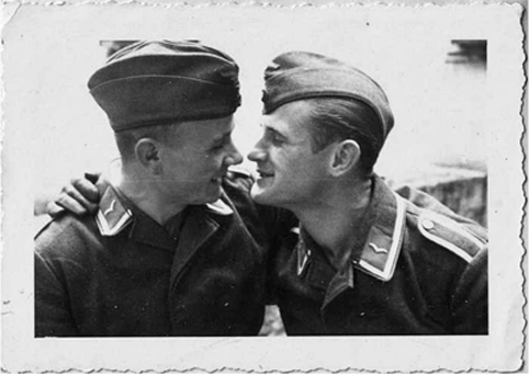 men kissing, vintage photo, gay, soldiers, military