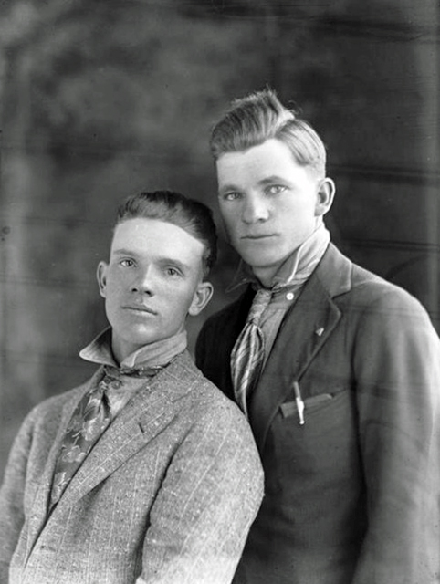 Two handsome guys, vintage gay photo, circa 1900