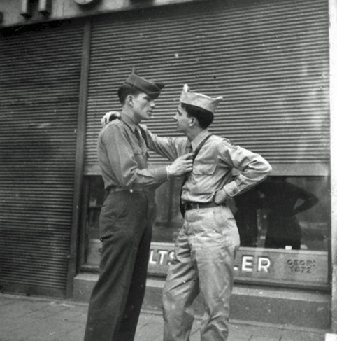 Two affectionate men, gay interest, vintage photo