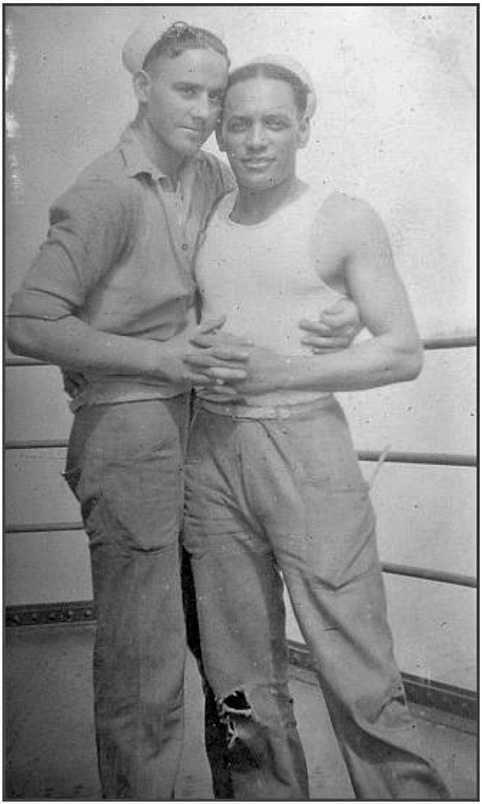 two men embracing in a vintage gay photo